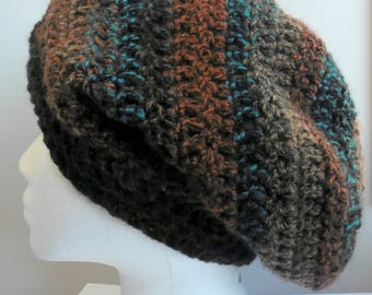 Brown Slouchy Brown Crocheted Slouchy Women's Slouchy Hat Blue Slouchy Blue Slouchy Hat Rust Brown Slouchy Hat