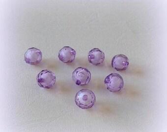 8 plastic - translucent purple beads