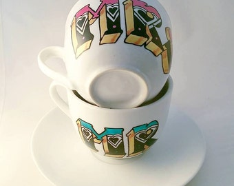 Hand painted 'Mr & Mrs' tea cups and saucers - hand lettering
