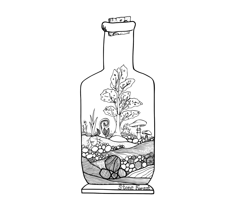 Baum und Pilz Terrarium Malvorlagen