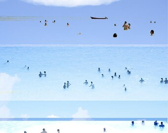"Abstract Art Photography // ""Revisited"" // Beach Photography // Rainbow Print // Beach People California // Beach Collage V"