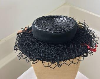Black patented straw weave Victorian Slider hat aka/ fascinator