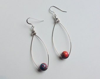 Sterling Silver Wire Teardrop Earrings with Tie Dye Glass Beads and Spiral Accents / Gift For Her / Stocking Stuffer