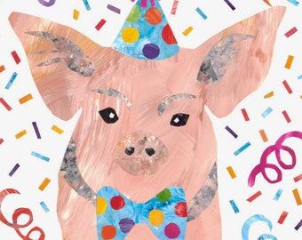 Happy Birthday Pig Greeting Card