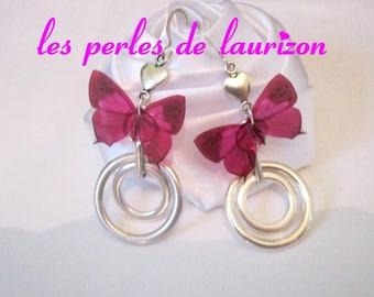 pink butterfly arabesque earrings