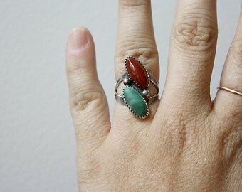Coral and Malachite Sterling Silver Ring, Signed, Size 6.5