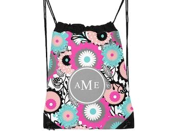 Drawstring Backpack, Drawstring Gym Bag, Drawstring Bag, Sleepover Bag, Flowers, Monogram, Personalized, Mod Flowers Two