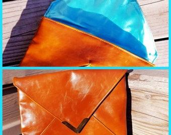 Vintage Caramel & Aqua Envelope Clutch Bag