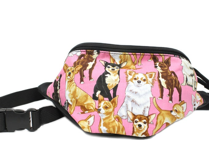 Fanny pack Adorable Chihuahua Pink Dog fabric - Cute  - Hip Waist Bag - 2 Zippers