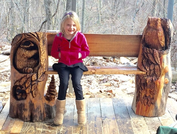 Items similar to bench wood carving chainsaw log