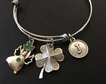 St. Patrick's Day ANGEL Adjustable Stainless Steel Bangle Bracelet with Shamrock and Initial Charm