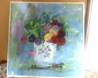 """PAINTING ... Vintage Gorgeous Painting of Flowers in Vase Oil On Board 24 x 26"""""""
