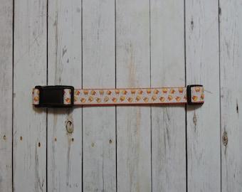 Glittery Candy Corn Adjustable Orange Dog Collar- Nylon, Webbing, Durable - X-Large