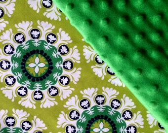 Baby Car Seat Canopy COVER or NURSING Cover: Floral Circles in Green White Navy with Kelly Green Minky Interior, Personalization Available