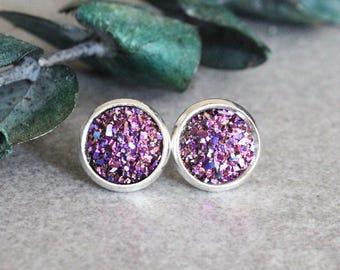 Pink Stud Earrings, Dark Pink Stud Earrings, Magenta Earrings, Pink Druzy Earrings, Pink Post Earrings, Pink Bridesmaid Earrings, 10MM