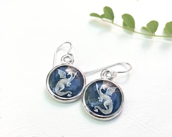 Dragon Earrings, made from an original dragon painting, Navy Blue and white mythical jewelry