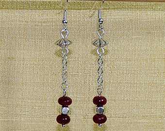 Jade shield Burgundy and silver beads earrings