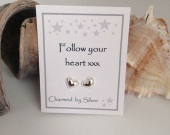 Sterling Silver 3D Heart stud Earrings with message - a VALENTINE gift