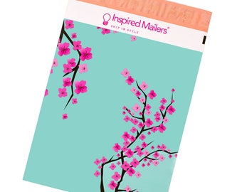"""Cherry Blossom Printed Poly Mailers 10x13"""" - Writable Surface: No Labels Required - Pack of 100 - FREE SHIPPING"""
