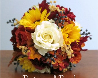 "Orange, Burgundy Red , Ivory, Yellow, Navy Blue, Silk Flower Bouquet & Boutonniere, Roses, Dahlias, Sunflowers, Berries, ""Sun Harvest"""