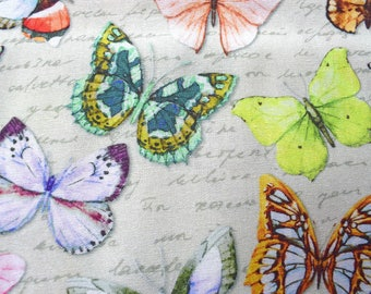 Butterfly fabric, cotton butterfly fabric, quilting fabric, butterfly material, cream fabric, fabric by the metre, colourful butterflies