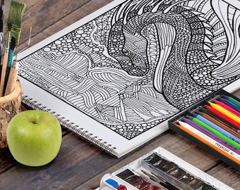 DRAGON: A Printable Adult Coloring Page