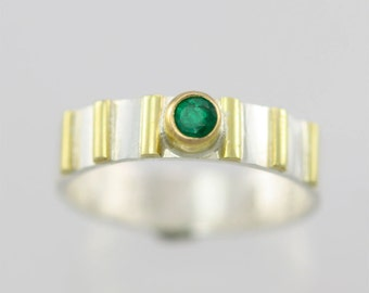 1 Stone w-6 Lines Ring 14k (Emerald) Made to Order
