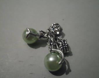 1 for Green Pearl Mermaid charm silver 35 x 11 mm