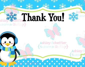 Winter Wonderland Thank you. Onederland Thank you. Instant Download. Printable. 4x6. Penguin. Snowflake. Winter. Birthday. Boy Version. Blue