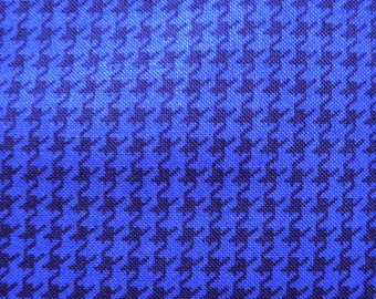 Free Spirit  Designer Houndstooth, Monochrome Navy Blue Printed 100% Cotton Fabric