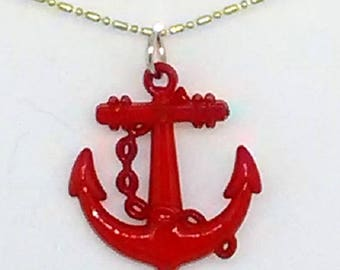 Red Patriotic Anchor Necklace