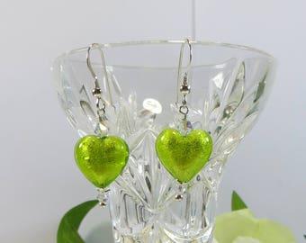 Lime Green Heart Earrings, Murano Lime Green and Silverfoil Heart Earrings, Genuine Venetian Murano Glass Earrings w Sterling & Swarovski