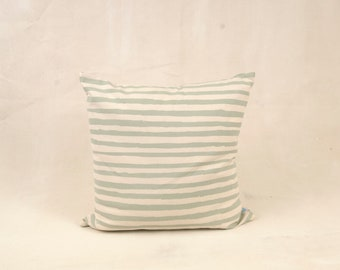 Line throw pillow -- printed in sage 18x18