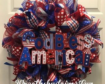 Patriotic wreath, God Bless America Wreath, Americana Wreath,  USA Wreath, American Wreath, Memorial Day Wreath, 4th of July Wreath