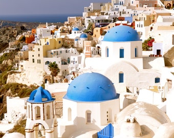 Greece Photography, Santorini, blue domes, Mediterranean decor, Greek Islands, Greek Architecture-11 x 14 photograph