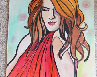 Lady In Red Watercolor Set of 3