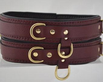 Premium Padded Leather Thigh Restraints - Burgundy/Brass -BDSM/Fetish/Cosplay