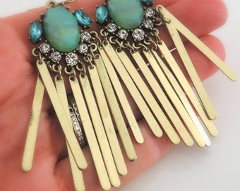 Tassel Earrings - Aquamarine Earrings - Boho Festival Earrings - Green Opal Earrings - Crystal Earrings - Dangle Earrings - Handmade