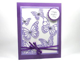 Mother's day cards, Mother's day butterfly card, Card for mom, Card for mother, Card for grandma, Purple butterflies, Glittered card