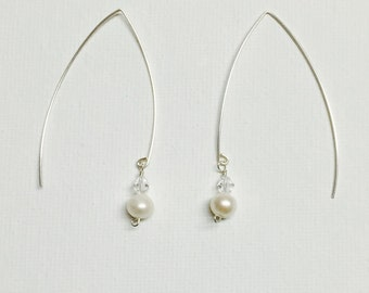Freshwater Pearl Silver Wire Dangle Earring