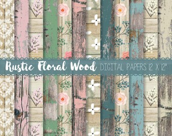 Rustic Wood digital paper pack, Wood background paper, Distressed wood textures, Floral wood seamless paper pack, Colour wood background