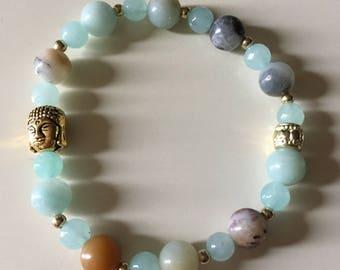 Happy Buddha Aqua Aura Quartz bracelet!