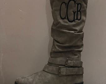 PLATEAU Taupe boot, Monogramed, Personalized Women's Shoes, Embroidered,  Custom Monogramming, Boots