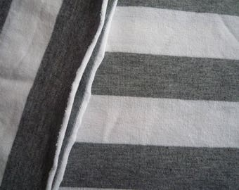 Grey jersey with large white stripes fabric - 160 * 70 cm