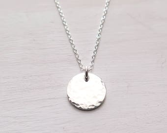 Hammered Disc Necklace, Tiny Disc, Minimalist Necklace, Dainty, Layering Jewelry, Gift for Her, Gift for Friend, Sterling Silver