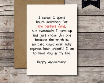 THE PERFECT CARD / Happy Anniversary / Romantic Card Printable Anniversary Cards I Love You Him Her Printable Greeting Cards Jpg Download