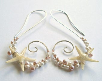 Real Starfish Earrings, Pink Pearl Spiral Hoops, Wire Wrapped Pearl Hoops