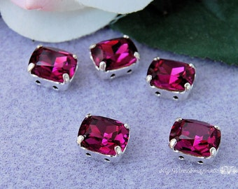 Fuchsia Fancy Octagon,  Swarovski Crystal 10x8mm, article 4570 With Prong Setting, Crystal Sew On, Rhinestone Crystal Setting Jewelry Making