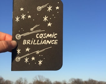 COSMIC BRILLIANCE Screenprinted Pocket Notebook -- Black Space Night Sky Stars Notebook