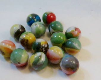 Green, Yellow, Blue, Orange Multi-Colored Tropical Floral Printed Acrylic Beads, 16mm round, Wholesale Beads